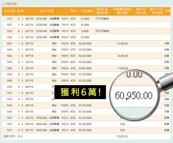 WINSMART聰明贏期貨軟體-獲利對帳單